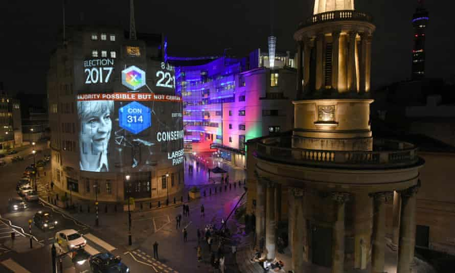 Exit poll results from Britain's general election are projected on to the BBC's Broadcasting House in central London.