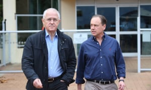 The prime minister, Malcolm Turnbull, with the environment minister, Greg Hunt, in Townsville in June.