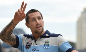 Mitchell Pearce during a media session following the NSW Blues State of Origin team announcement in May.