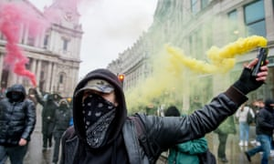 Protesters 'Rally Against Capital' in London in February 2020.
