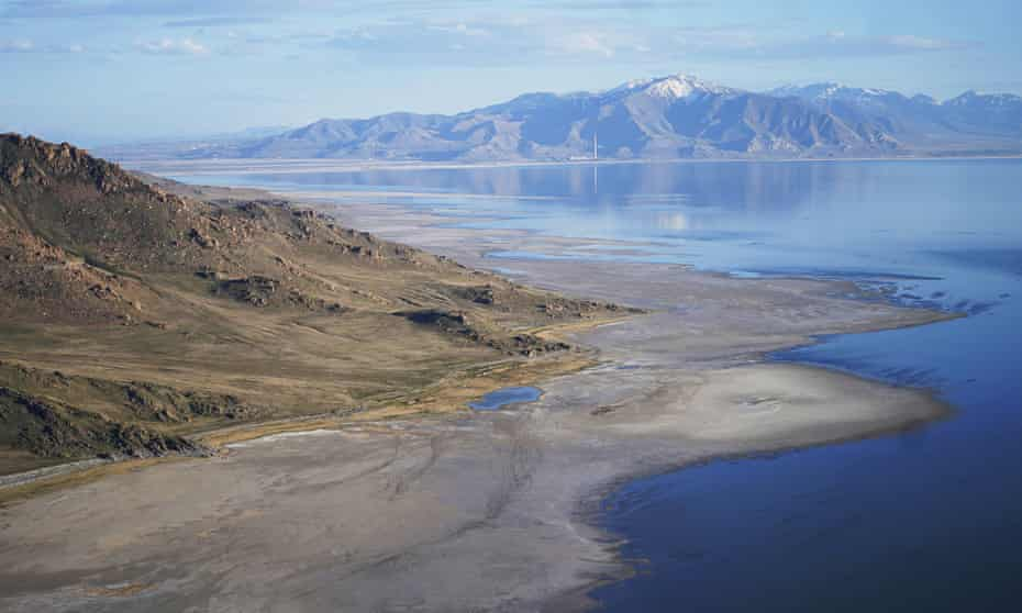 The Great Salt Lake recedes from Anthelope Island on 4 May 2021, near Salt Lake City.