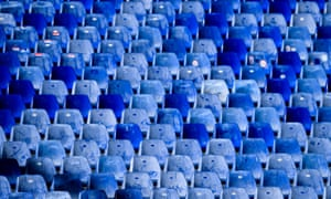 Empty seats in the stands for Sampdoria's match against Hellas Verona on Sunday.