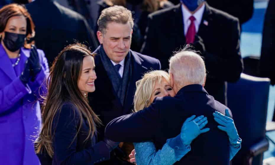 Hunter Biden (centre) at his father Joe Biden's presidential inauguration in January.