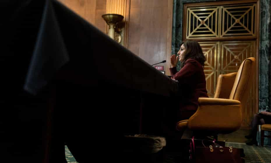 Neera Tanden, Joe Biden's nominee for director of the Office of Management and Budget (OMB), speaks at a hearing with the Senate budget committee.