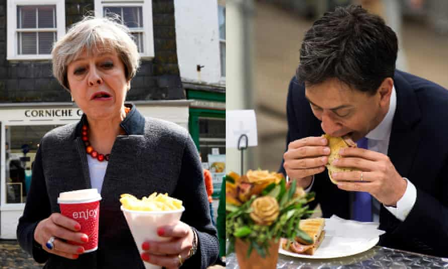 Theresa May struggles with chips while Ed Miliband struggles with a bacon sandwich
