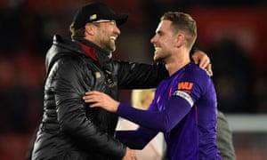 Jürgen Klopp also singled Jordan Henderson (right) out for praise after the captain's excellent performance against Southampton.