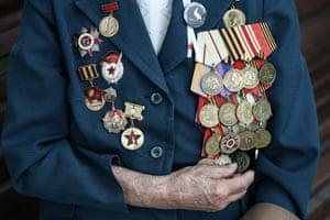 Nurse Valentina Chumachenko, a veteran of Stalingrad, Budapest and Prague, wears her medals in Vladivostok