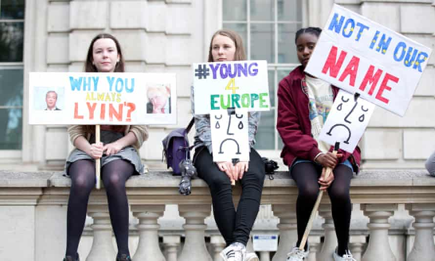 Young anti-Brexit protesters demonstrate at the gates of Downing Street.