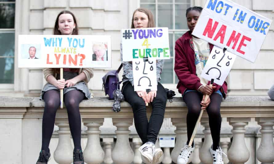 Young protesters demonstrate at the gates of Downing Street on Friday night.