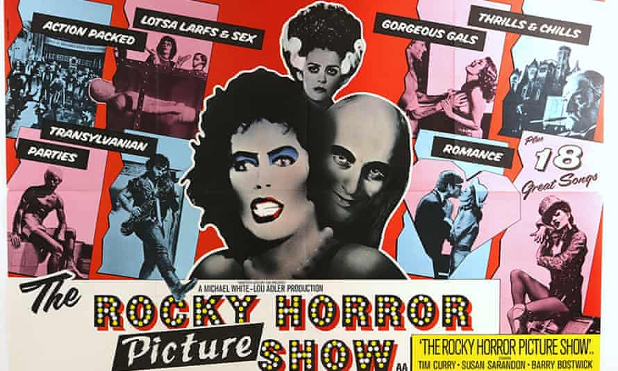A poster for The Rocky Horror Picture Show promising 'gorgeous gals' and lotsa larfs & sex'.