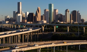 City skyline and Interstate in Houston, Texas.