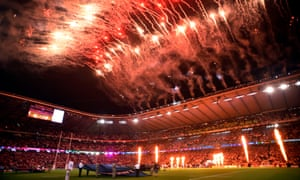 England and Fiji enter the field to fireworks at Twickenham on Friday night.