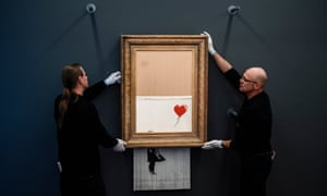 Banksy's Love is in the Bin, created live when partially shredded while under auction at Sotheby's. In an era defined by digital disruption, most high-profile art sales still take place in traditional auction houses