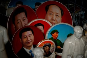 Mao memorabilia alongside souvenirs of current president Xi Jinping