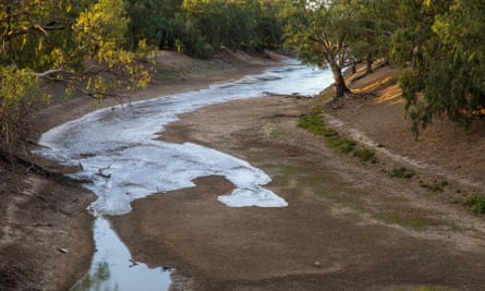 File photo of water flow reaching the parched Darling River at Louth, New South Wales, Australia
