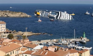 The Costa Concordia after running aground near the island of Giglio, Italy, in January 2012.