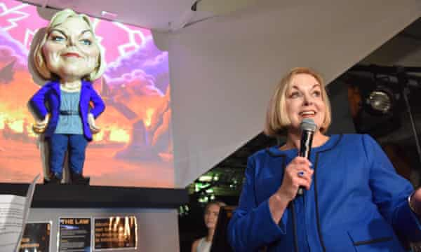 New Zealand opposition leader Judith Collins with her puppet.