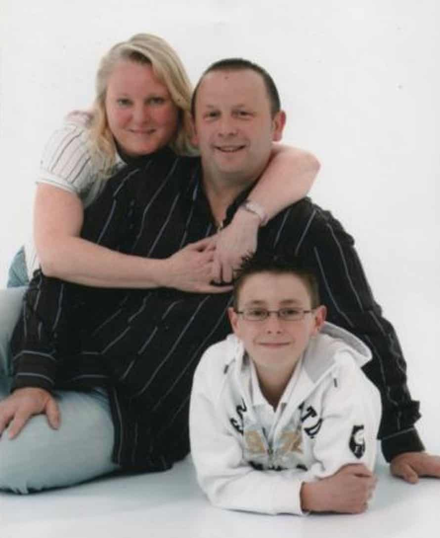 Dean Evans with his stepfather, Steve, and mother, Joanne, in 2008