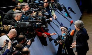 Britain's prime minister, Theresa May, speaks to the media at the EU summit in Brussels.