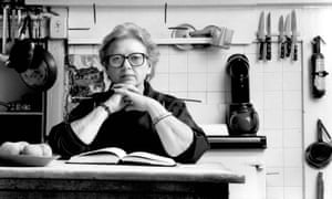 Jane Grigson in her kitchen, Sept 1989: 'Her food books are dense with history, geography, literature, the natural world and poetry,' says Rachel.