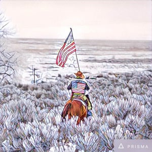 Duane Ehmer on his horse Hellboy at Oregon's Malheur national wildlife refuge on the sixth day of a militia occupation.