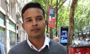 Hani Gue outside his employment tribunal in central London