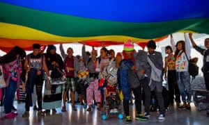 LGBT migrants arrive in Tijuana, Mexico, ahead of the first caravan of Central Americans en route to the US on 11 November.