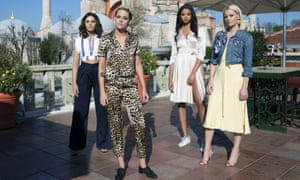 New generation Charlie's Angels 2019: from left, Naomi Scott, Kristen Stewart, Ella Balinska, Elizabeth Banks.
