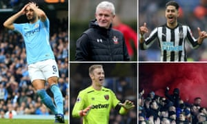 Manchester City's İlkay Gündoğan, Southampton manager Mark Hughes, Newcastle striker Ayoze Pérez, Crystal Palace fans at Brighton and West Ham goalkeeper Joe Hart.
