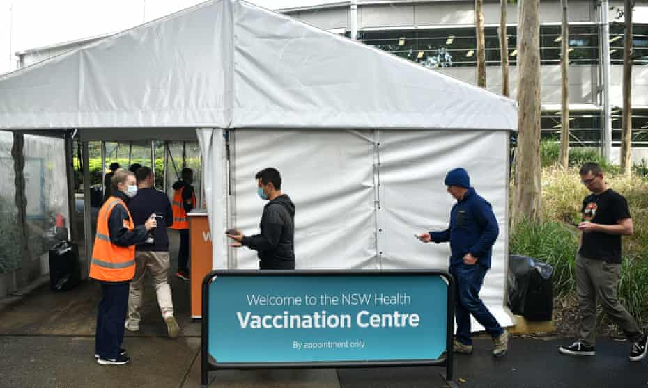people queue at a NSW Health vaccination centre