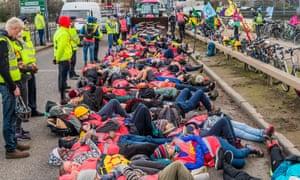 Extinction Rebellion protest at Heathrow airport, December 2019.