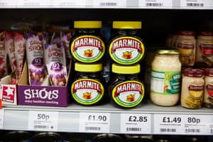 Unilever's Marmite on the shelves of a small independent supermarket in Burton.