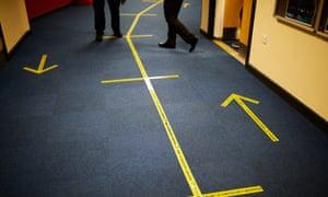 Social distance markings in a school corridor in Oldham