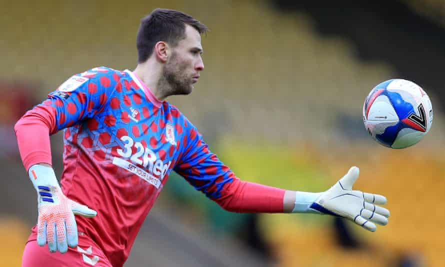 Marcus Bettinelli playing for Middlesbrough at Norwich in January. He spent the season on loan at the Championship club.