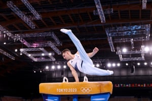 Max Whitlock of Great Britain competes in the men's pommel horse final and retains his title.