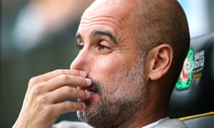Pep Guardiola during Manchester City's shock defeat at Norwich City.