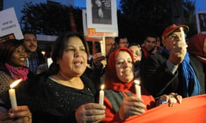 A tribute rally for victims of Ouagadougou in front of the Burkina Faso embassy in Rabat, Morocco
