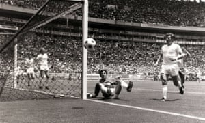 England goalkeeper Gordon Banks watches as the ball goes wide of the goal after making his spectacular save.