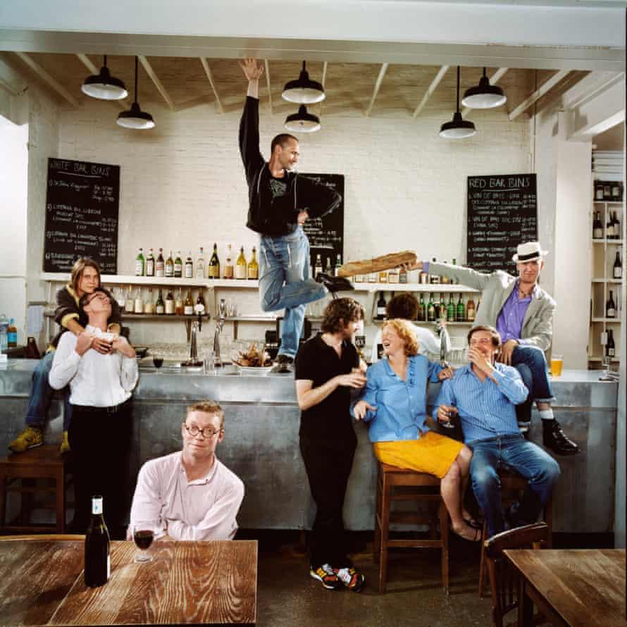Photographed for OFM at St John, east London in September 2004. From left: artist Sarah Lucas; chef Jeremy Lee; Fergus Henderson; dancer Michael Clark; artist Angus Fairhurst; Margot Henderson; gallery director Stefan Kalmar; writer Phil Gray.