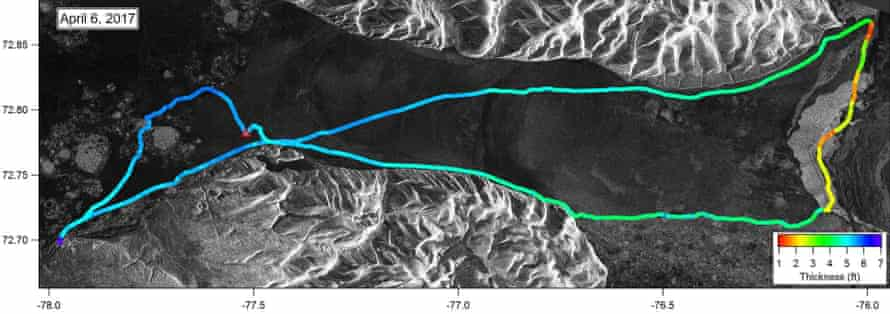 Sea ice thickness along a commonly-used route as mapped using data from the smart qamutiq.