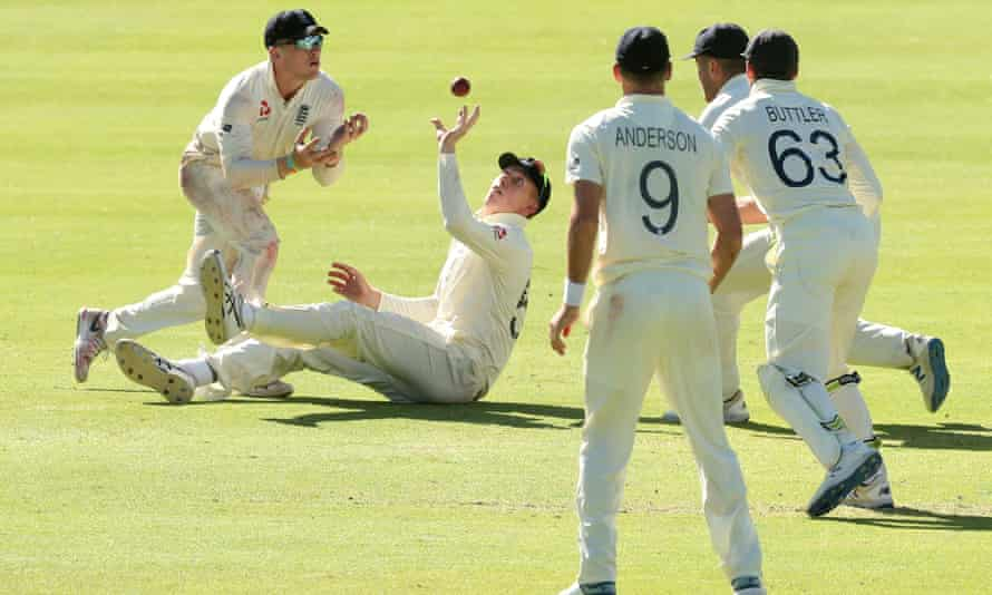 Zak Crawley takes a brilliant reflex catch to dismiss South Africa's Anrich Nortje in England's memorable win in the second Test in Cape Town.