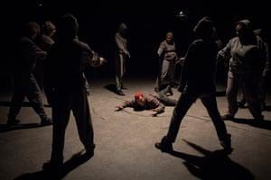 Jade Anouka (Mark Antony) and company in Julius Caesar