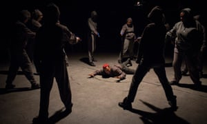 'Skittish': Jade Anouka (Mark Antony), centre, in Donmar Presents Julius Caesar