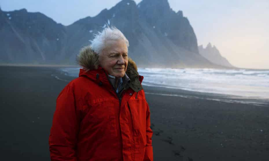 David Attenborough, pictured in Iceland while filming the 2019 BBC documentary Seven Worlds, One Planet.