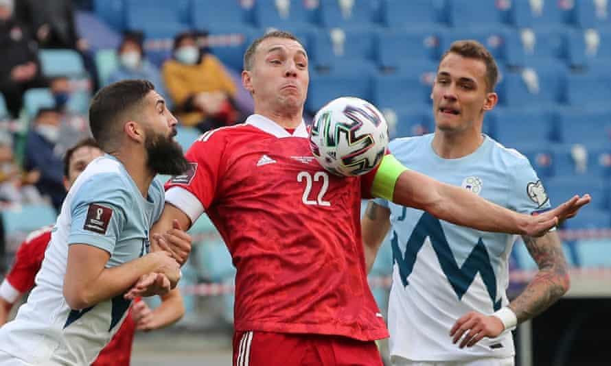 Russian forward Artem Dzyuba in action against Slovenia.