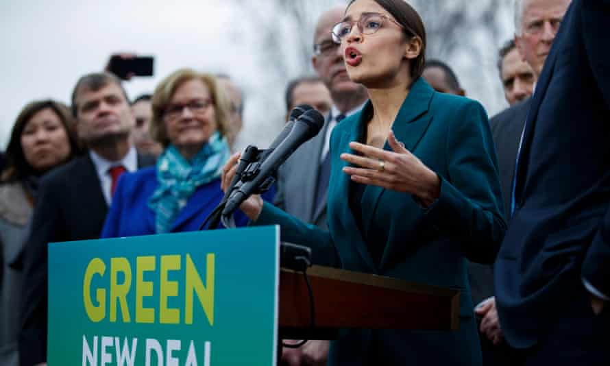 Democratic Representative from New York Alexandria Ocasio-Cortez and US Democratic Senator from Massachusetts Ed Markey introduce their Green New Deal resolution<br>epa07350906 Democratic Representative from New York Alexandria Ocasio-Cortez (L) delivers remarks on the 'Green New Deal' resolution with US Democratic Senator from Massachusetts Ed Markey (Unseen), during a press conference on Capitol Hill in Washington, DC, USA, 07 February 2019. The resolution emphasizes massive public investment in wind and solar production, zero-emission vehicles and high-speed rail, energy-efficient buildings, and smart power grids, as well as 'working collaboratively' with farmers and ranchers to move towards sustainable agriculture techniques. EPA/SHAWN THEW