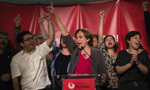 Ada Colau celebrates the victory of her party after elections in Barcelona in 2015.
