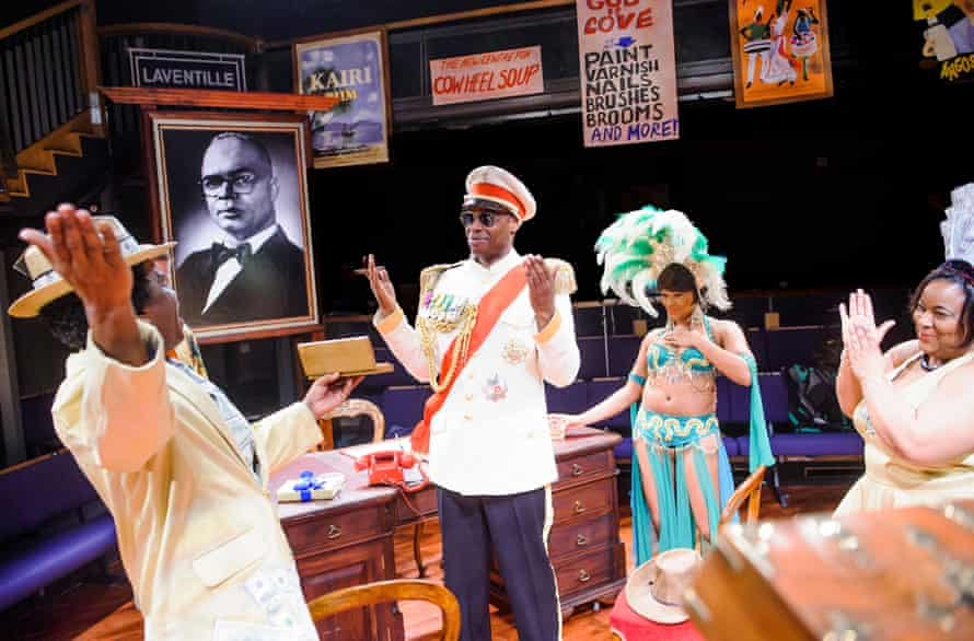 Seun Shote, centre, as Samuel in Play Mas at the Orange Tree theatre, directed by Paulette Randall, in 2015.
