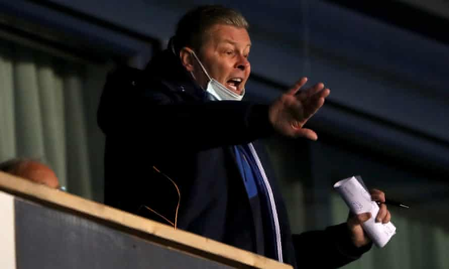 Shrewsbury manager Steve Cotterill signals to his team from the director's box. He is set to take a seat in the stands away at Crewe on Sunday in his side's final game of the season.