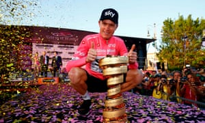 Chris Froome celebrates winning May's Giro d'Italia, which saw the Team Sky rider complete a grand slam having also won the Tour de France and Vuelta a España in 2017